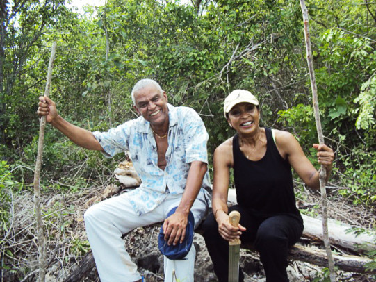 Norma Jennings and her brother, Cliff, enjoy hiking the limestone forest of their grandmother's old sugarcane plantation, Twickenham, in Jamaica.