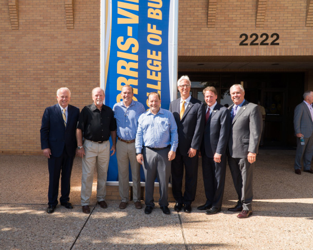 Dr. Brian May, Lloyd Norris, Blake Vincent, Bryan Vincent, Dr. Clifton Jones, Chancellor Robert Duncan and State Representative Drew Darby at the press conference announcing the new name of the Norris-Vincent College of Business.