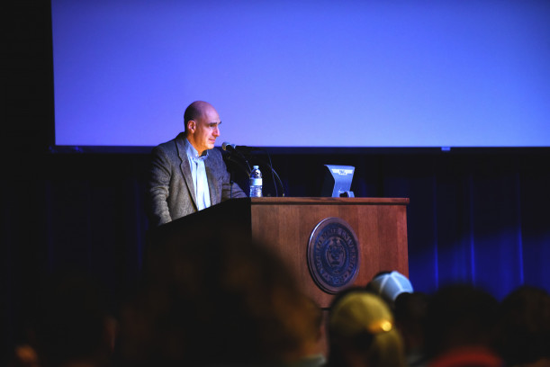 Mark Feierstein taking questions from the audience at his Jan. 31 lecture in the C.J. Davidson Conference Center.