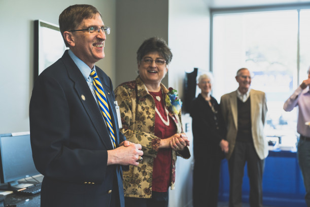 Dr. Fortin, along with his wife Theresa, addressed those who attended his retirement reception in the Porter Henderson Library