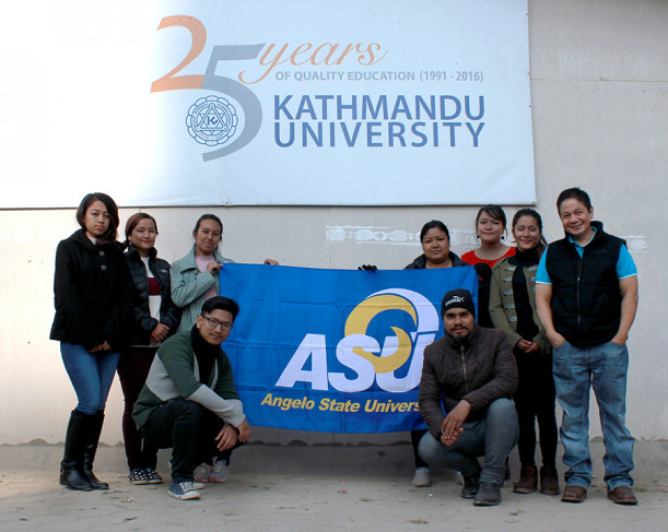 Cuenco (far right) with design students at Kathmandu University