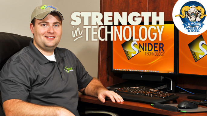 Jason Snider at his startup technology business.