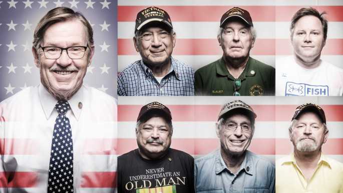 Honoring Veterans: (clockwise from left) Steven King, Bobby Cortez, Wendell Blalack, Bryan Wright, James Duffy, Ron Flatt ...