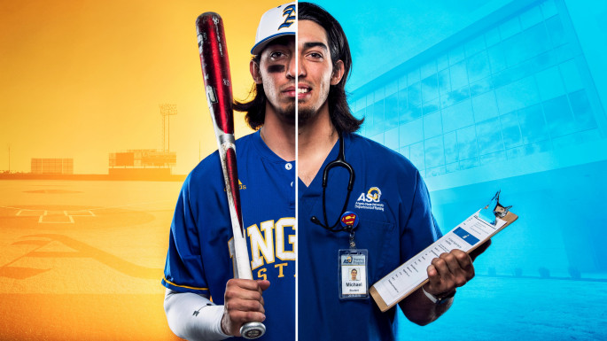 Michael Urquidi as both a baseball player and a nurse