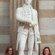 Burch and a fellow intern beside the statue of Alexander Hamilton in the U.S. Capitol Rotunda