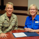 Photo of Col. Steve Van De Walle, commander of the 17th Medical Group, and Dr. Wrennah Gabbert, dean of ASU's Archer Colle...