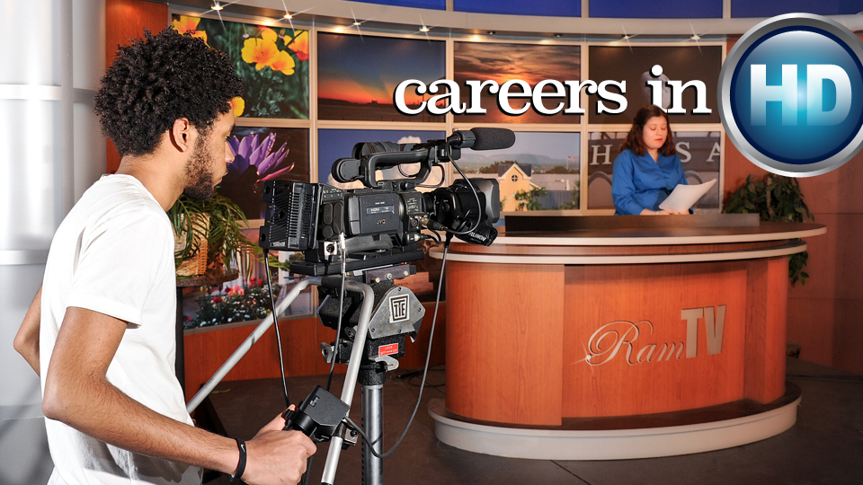 Careers in HD: Kameron Harris shoots a news segment featuring Kelsey Velez as the anchor for Angelo State University's Ram TV, which airs in high definition on Suddenlink Channel 6.