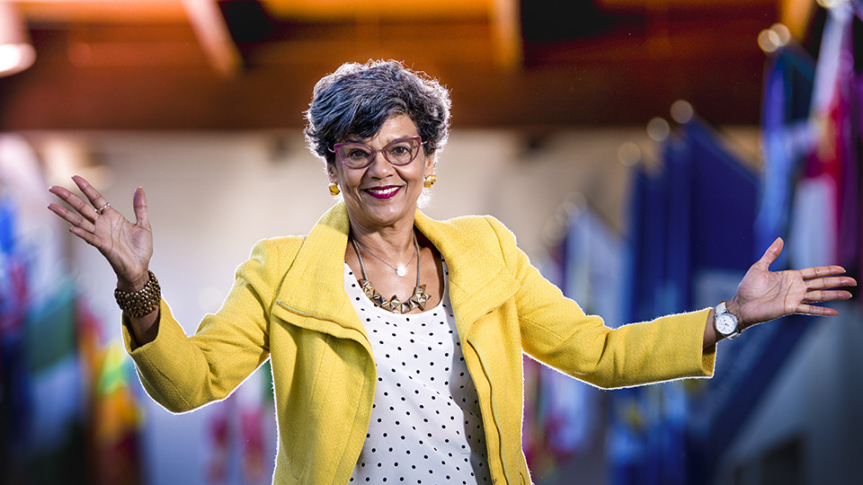 "Sonia Manzano, ""Maria"" from Sesame Street and best-selling author, was the 2018 distinguished speaker at the E. James Holland University Symposium on American Values"