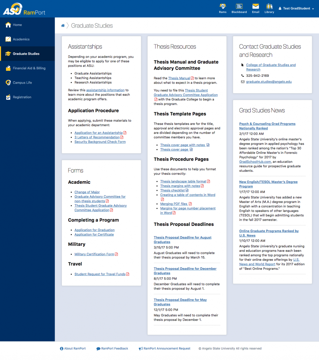 Screenshot of the Graduate Studies page in RamPort
