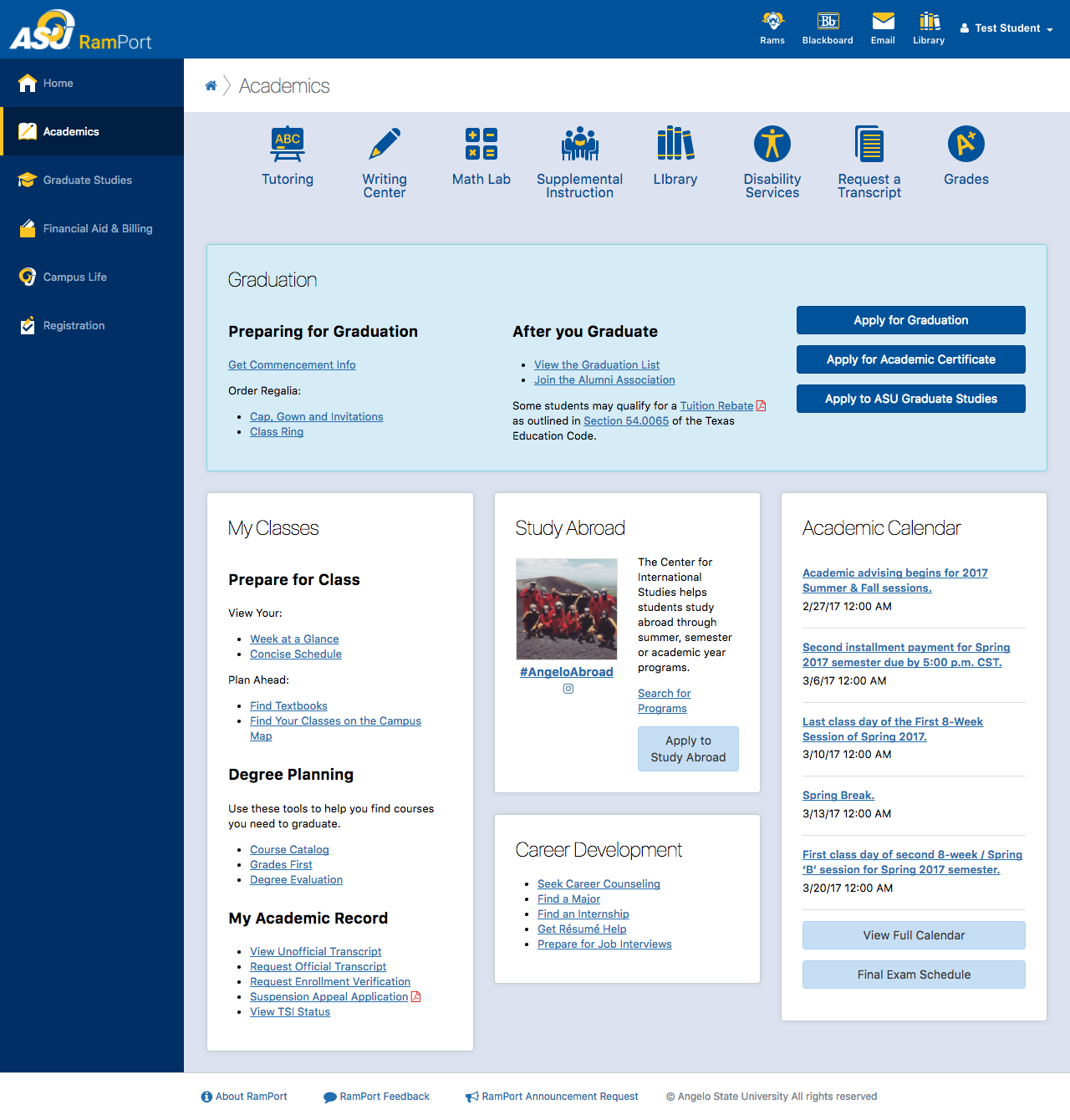 Screenshot of the Academics page in RamPort