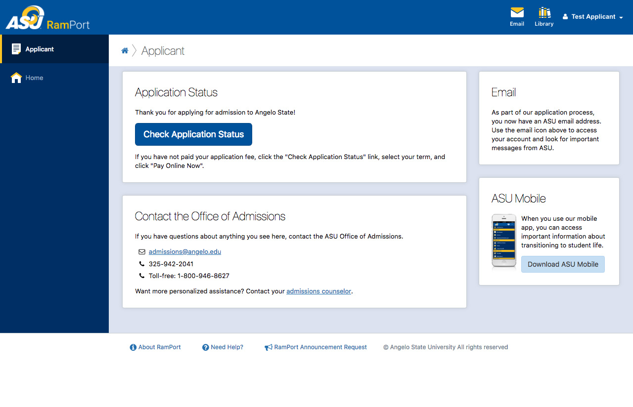 Screenshot of the Applicant page in RamPort