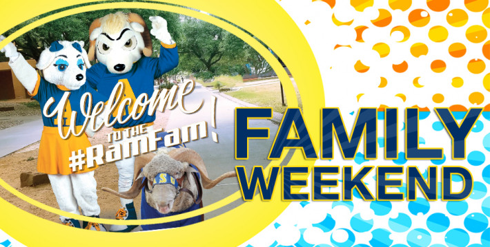 Roscoe, Bella and Dominic at Family Weekend: Welcome to the #RamFam