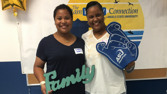 Student and mother join the ASU Ram Family.