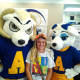 Student with Roscoe and Bella.