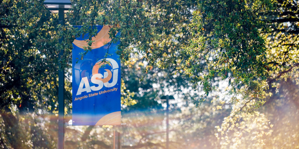 Sunlight reflecting behind an Angelo State University banner along the university mall.