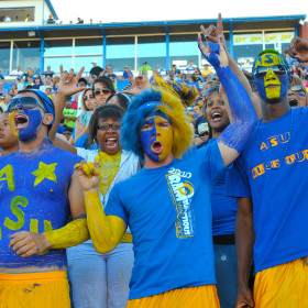 ASU Students wearing Blue and Gold