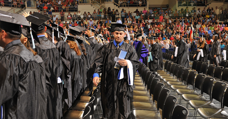 Undergraduate students graduate from Angelo State University in front of their family and friends.