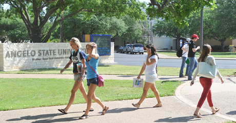 Angelo State students walk to class.