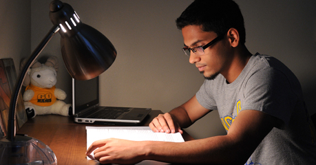 Student studies hard so he can qualify for Angelo State's Student Scholars and Research Program.