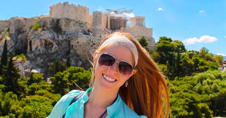 An Angelo State student poses while traveling abroad through a summer program.
