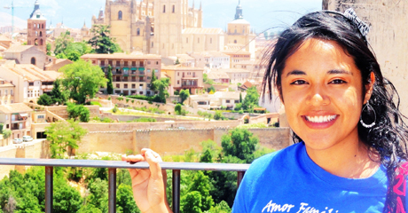 A study abroad scholarship recipient poses in Spain while traveling abroad with one of Angelo State's summer programs.