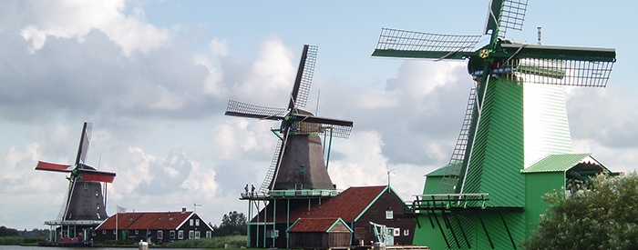 Dutch Windmills in the village of Zaanse Schans, Netherlands