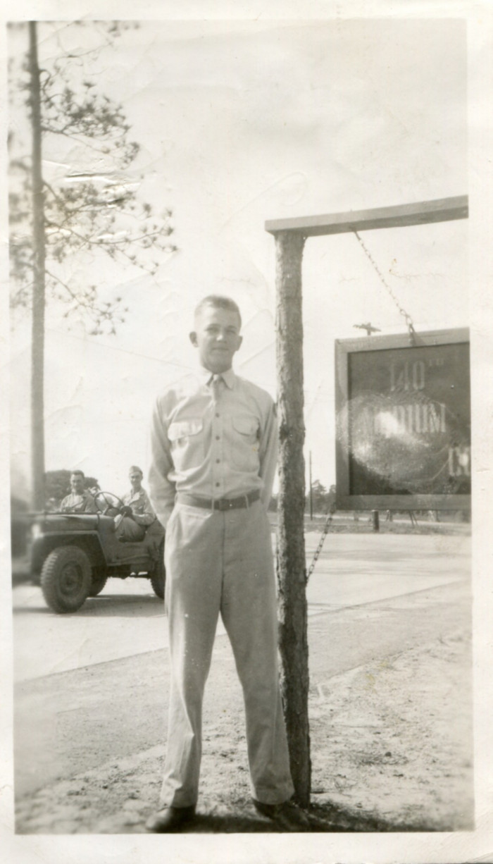 Milton A. Plagens at his unit's training camp in Louisiana, c. 1943.