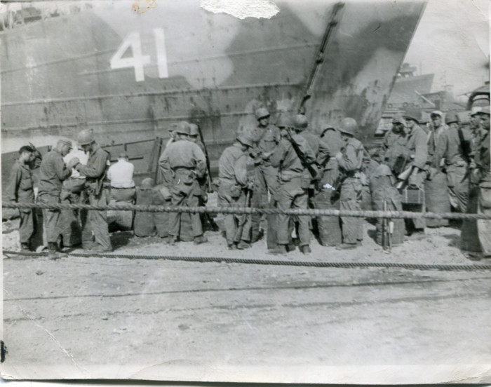 Milton A. Plagens's unit unloading in Japan. The unit crossed the Pacific Ocean on LSM 41 (Landing Ship Medium). Mr. Pla...