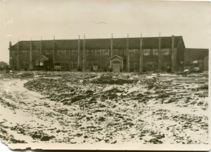 Japanese barracks at Okadama Air Base in Hokkaido where Milton A. Plagens's unit stayed while in Japan. (Circa. 1945)