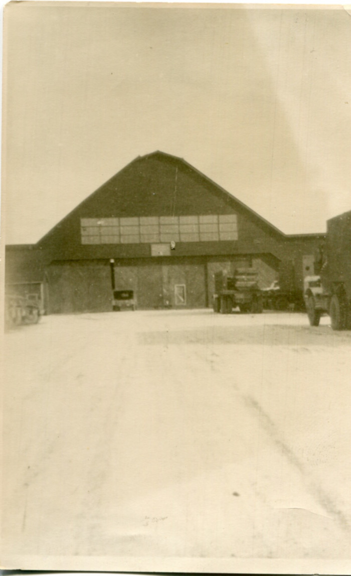 A hanger at Okadama Air Base in Hokkaido. Milton A. Plagens's unit was stationed here. (Circa. 1945)