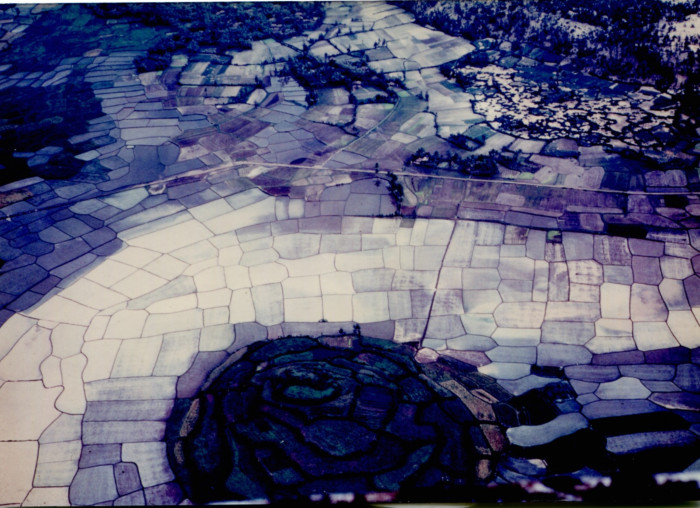 Aerial view of rice paddies and village in Vietnam (circa October, 1967-September, 1968).