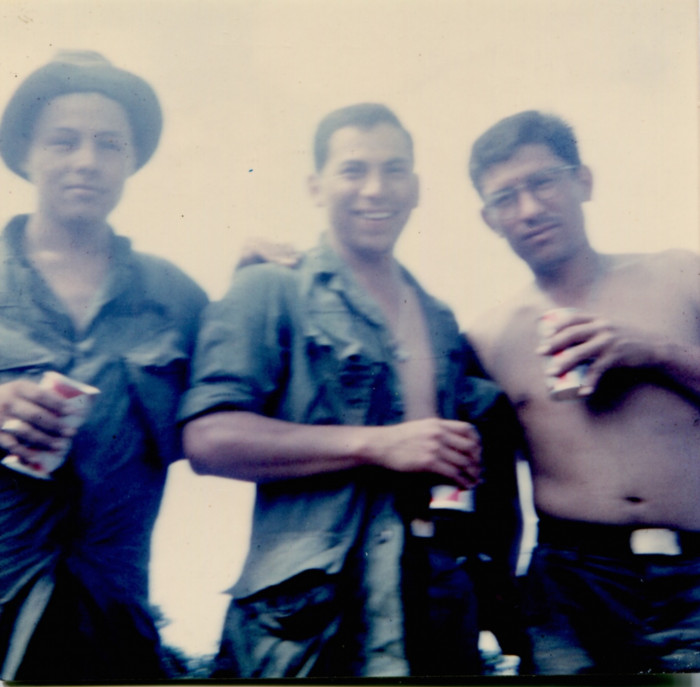 Guadalupe Carrasco (left) with friend Rodriguez and Chairis in Vietnam.