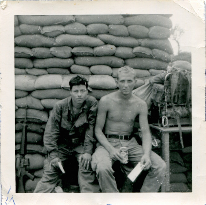Guadalupe Carrasco with his friend Karl Korp after receiving mail and Coca Colas in Vietnam.