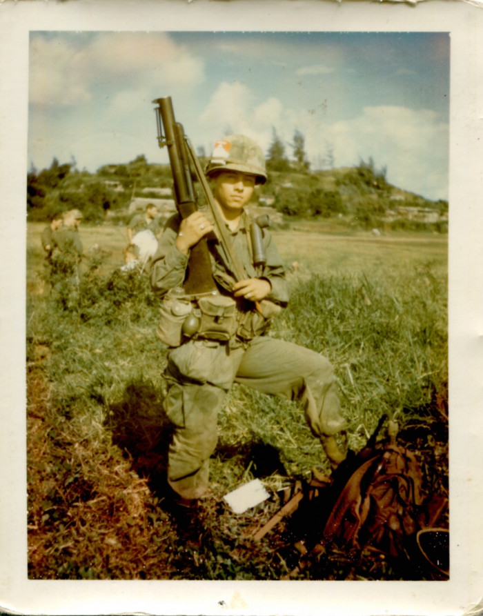 Guadalupe Carrasco in Vietnam with an M79 grenade launcher.