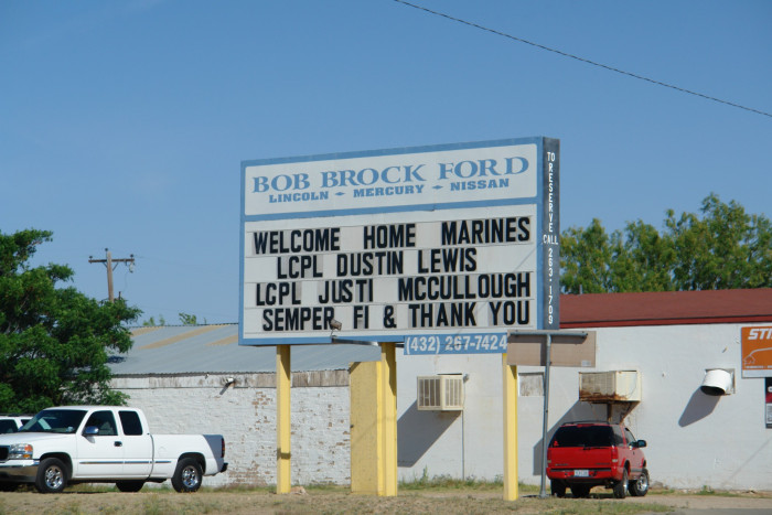 Welcome Home billboard back in big springs.