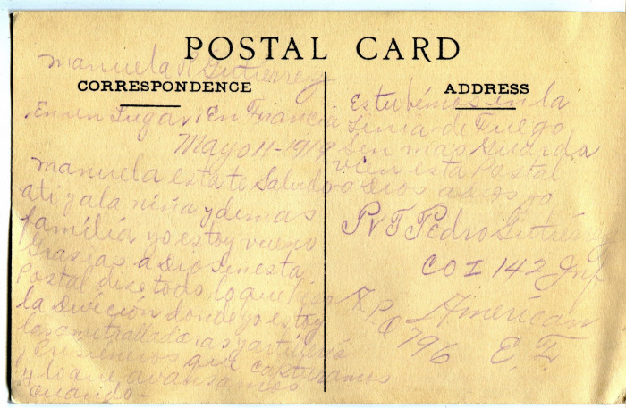 Back of the postcard Pedro Gutierrez sent to his mother from France in February 1919.