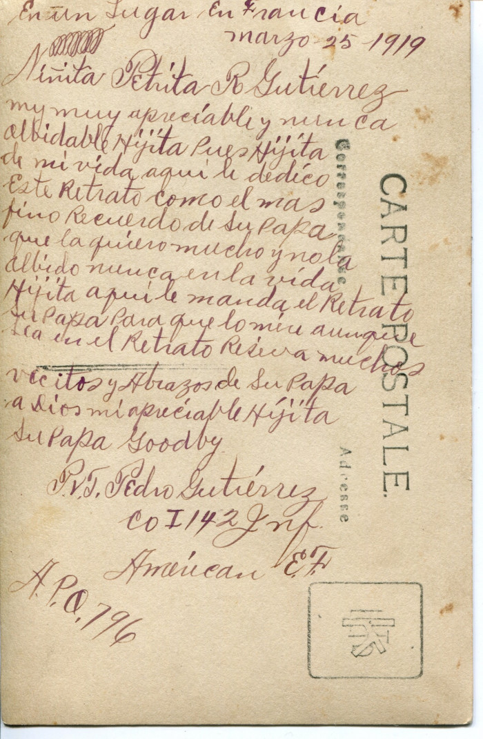 Back of postcard Pedro Gutierrez sent to his oldest daughter from France in March 1919.
