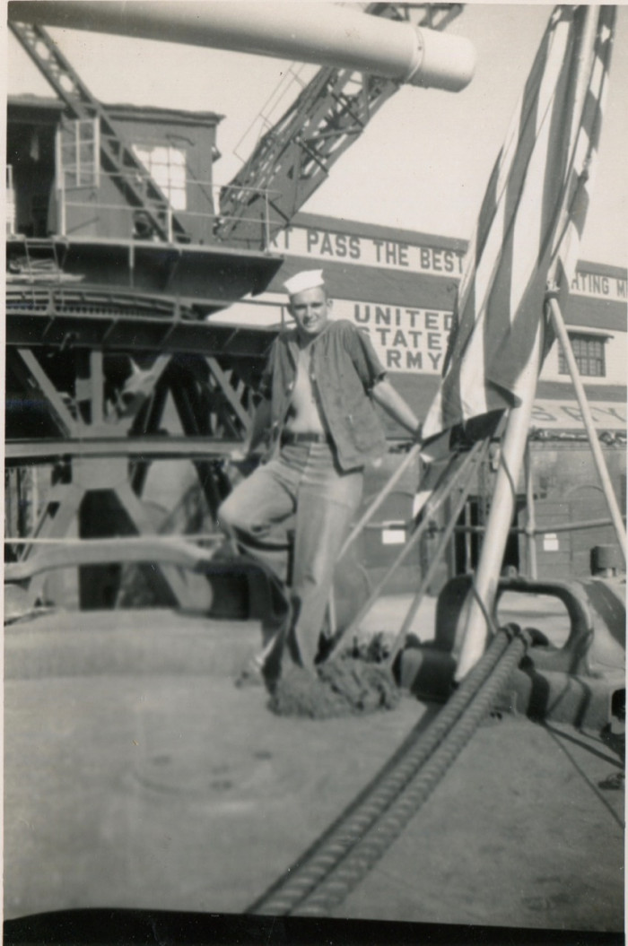 J. W. Young on the U.S.S. Yancey, docked at the Port of Sasebo (circa. 1952).