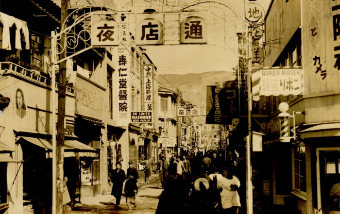 Main street in Sasebo, Japan.