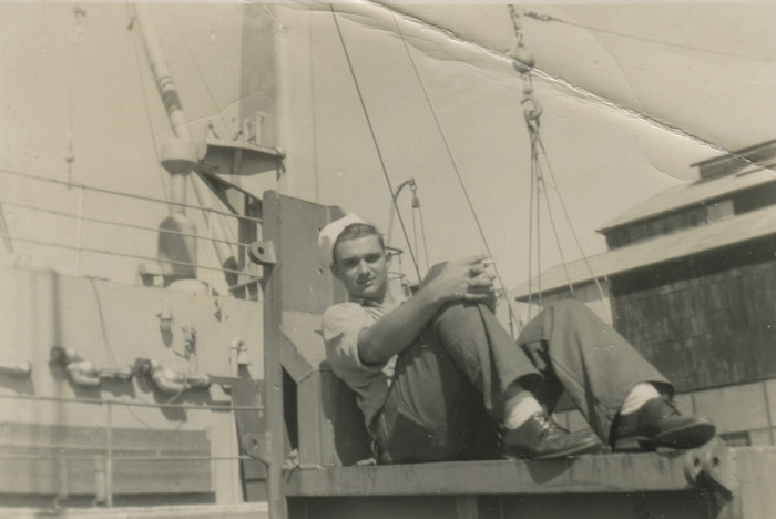 J. W. Young on the deck of the U.S.S. Yancey.