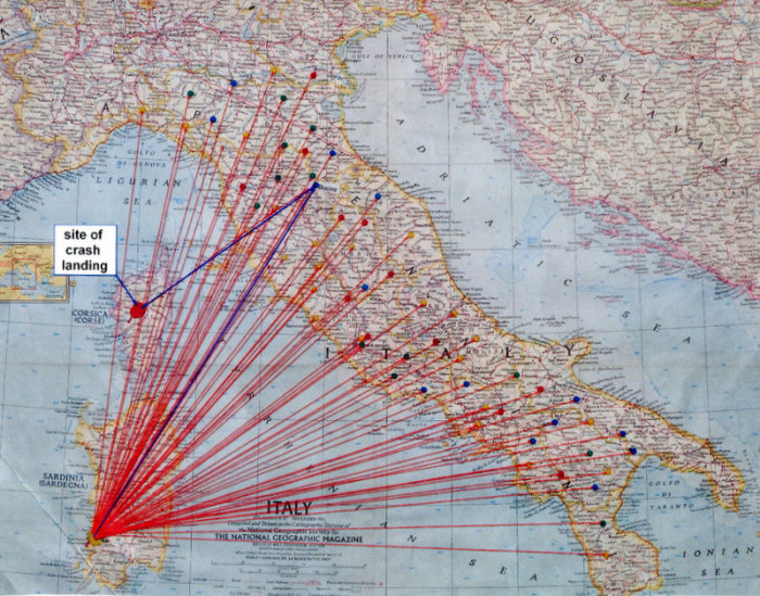 Map of Italy showing where a plane crash was.