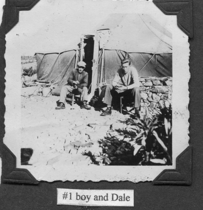 "Photo of Miller and another man. Caption reads, ""#1 boy and Dale"""