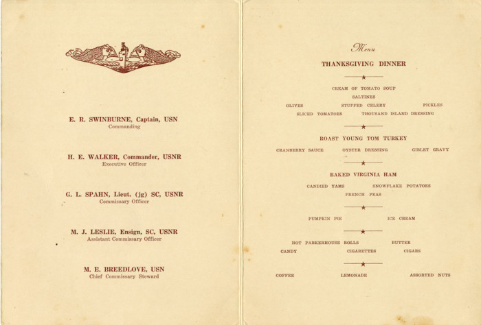 Ernest C. Swafford saved a copy of this Thanksgiving 1945 menu from when he served in the Pacific Fleet during the Second ...
