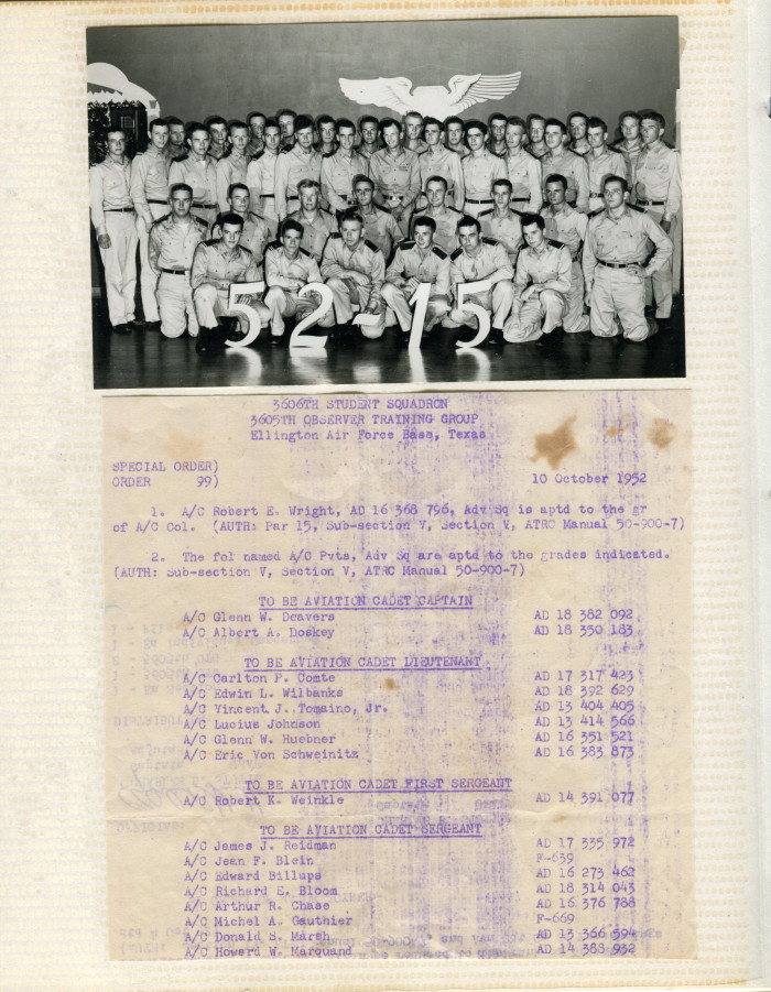 Special orders for A/C Deavers to be Aviation Cadet Captain, November 15, 1952