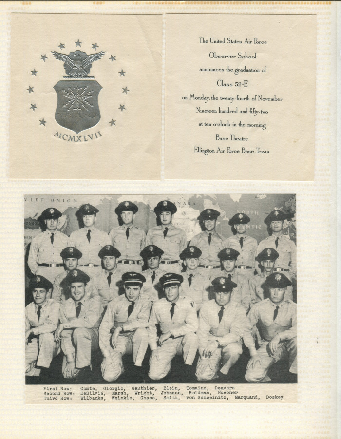 Graduation announcement and picture, Ellington Air Force Base, November 1952