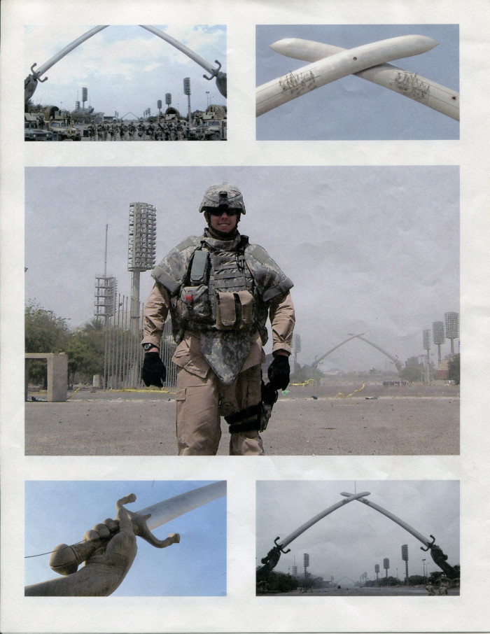 Five images containing the Victory Arch in Baghdad, Iraq