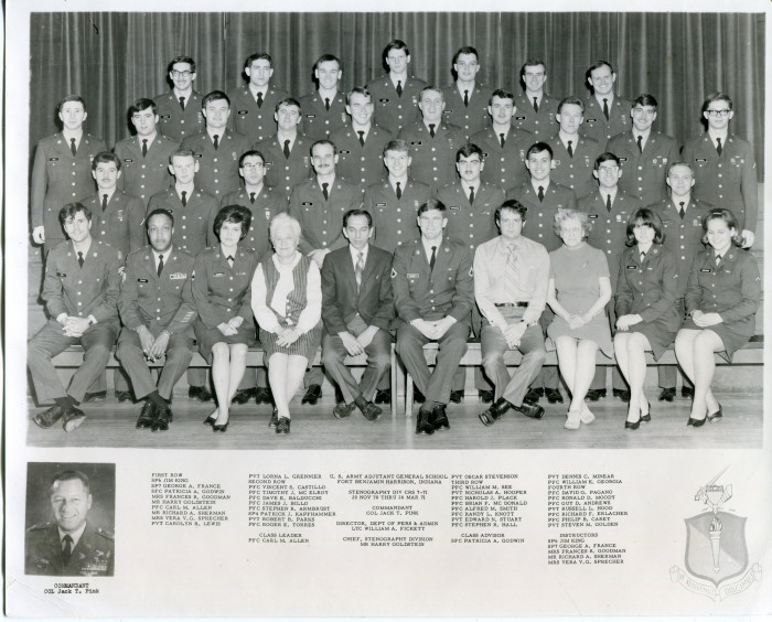 Class Photo of the U.S. Army Adjutant General School at Fort Benjamin Harrison, Indiana