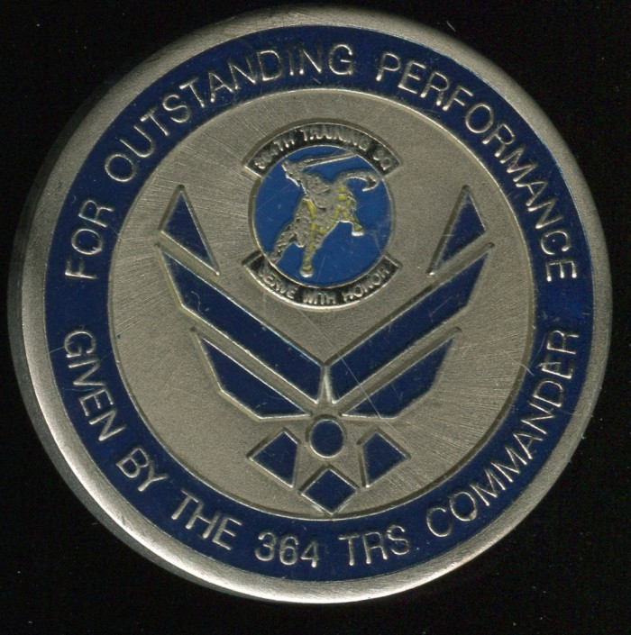 "364th Training Squad ""The Golden Knights"" Coin. Side A pictured."