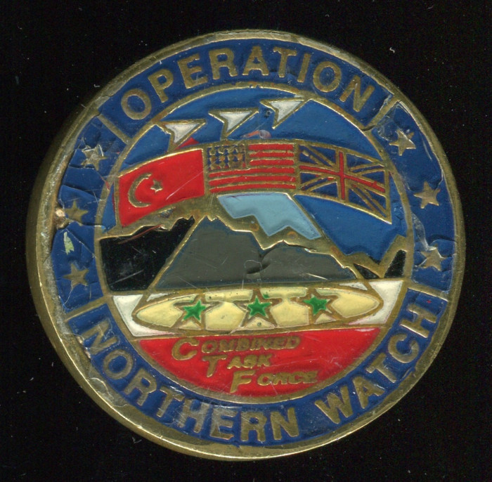 Operation Northern Watch Coin. Side A pictured. Spooner was in Turkey at the time of this operation.