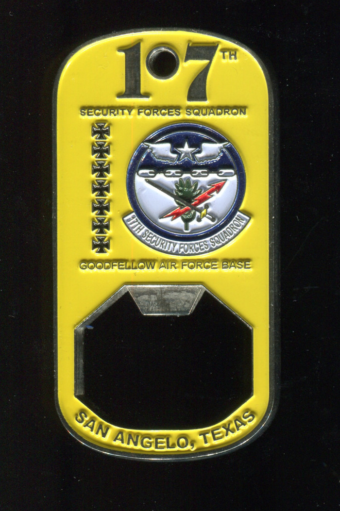 17th Security Squadron Coin. Side A pictured. Spooner worked with this squadron on different proj...